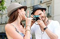 Man taking a picture of a woman, Paris, Ile_de_France, France