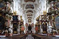 Interior view of Neuzelle monastery, Cistercian monastery, near Eisenhuettenstadt, Niederlausitz, Brandenburg, Germany, Europe