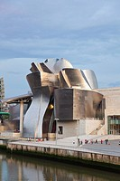The Guggenheim Museum in Bilbao, built by architect Frank Gehry, seen from the Puente Padre Arrupe, Basque country, Spain, Europe
