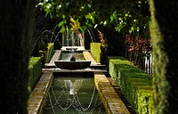Fountain in garden, Granada, Alhambra, Andalusia, Spain, Mediterranean Countries