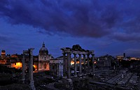 Roman Forum under dark clouds, Rome, Lazio, Italy, Europe