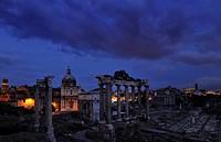 Roman Forum under dark clouds, Rome, Lazio, Italy, Europe