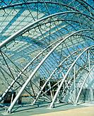 Steel structure of the Round Arch Hall at the exhibition centre in Leipzig, Germany, medium full