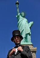 Abraham Lincoln in front of the Statue of Liberty, Manhattan, New York City, New York, USA, North America, America