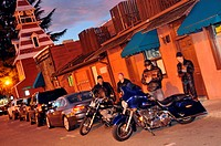 People with motorcycles on Route 49 in the evening, Auburn, North California, USA, America