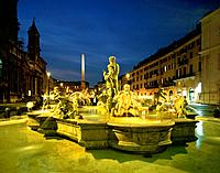 Bernini Fountain, Piazza Navona, Rome, Italy