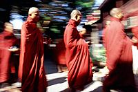 Myanmar Burma. Mandalay. Buddhist monks in monastery