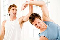 Men stretching