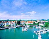 Harbour of Lindau at the Lake Constance Bavaria, Germany