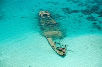 Sunken ship at the reef in Kuna Yala  San Blas archipelago, Caribbean, Panama, Central America
