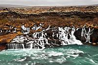 Hraunfossar waterfall, long time exposed, Iceland