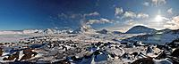Arctic landscape during winter, Greenland, panorama