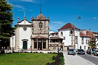 São Joao do Souto Church left and the Coimbras Chapel right  Two medieval religious buildings in Braga city, Portugal