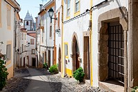 Santa Maria street in Castelo de Vide, Alentejo, Portugal  This street leads to the Castle