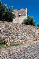 Image of the street that leads to the Castelo de Vide castle entrance  Alto Alentejo, Portugal