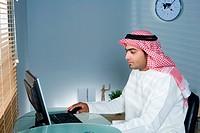 Arab man using cellphone