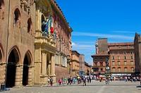Palazzo d´Accursio (aka Palazzo Comunale, Town Hall) on Piazza Maggiore, Bologna, Emilia-Romagna, Italy