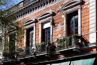 Impressive facade of a classical house in San Telmo, Buenos Aires, Argentina, South America