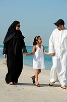 Girl walking with parents on beach, smiling