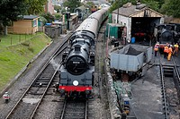 Steam Train entering Swanage, Dorset, England, UK