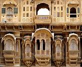 Architectural details of the old haveli private mansions in jaisalmer, Rajasthan, India