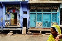 Street scene in Bundi, the medieval blue city  Rajasthan, India