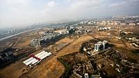 Aerial view of Bandra Kurla complex , Bombay Mumbai , Maharashtra , India