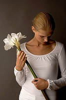 young woman with lily