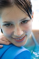 close_up of young woman in swimming pool