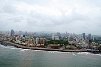 aerial view of worli seaface with lower parel , Bombay Mumbai , Maharashtra , India