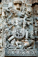 Lord vishnu in varaha avatar on Kedareswara temple , Halebid Halebidu , Hoysala Hoysaleswara , Hassan , Karnataka , India
