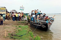 Ferry boat service at river brahmaputra from jorhat to majuli island , Assam , India