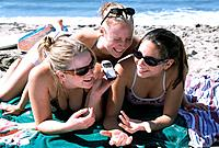 Teen Girls Having Fun at Beach