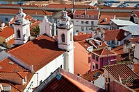 Alfama District rooftops with Sao Miguel Church seen from Miradouro de Santa Luzia  Lisbon, Portugal