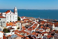 Alfama District with Santo Estevao Church and the Tagus River estuary seen from Miradouro de Santa Luzia  Lisbon, Portugal