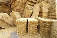 View of straw bales group on a farmland