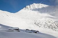 mountain village in winter landscape, Switzerland, Valais, Verbier