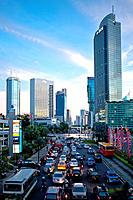 Indonesia, Asia, Jakarta, city, Mohammad Husni Thamrin, Avenue, traffic jam, big city, rush hour, car, skyscrapers, buildings, evening