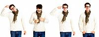 Collage of a crazy young man standing on white background _ Clone