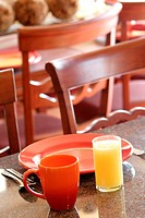 Orange Juice And Breakfast Plate