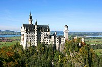 Schloss Neuschwanstein fairytale castle built by King Ludwig II near Fussen, Germany, Schwangau