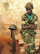 member of the guard of honour of the burundian army at the festivities for the International Day of Human Rights 10 December 2009, celebrated jointly ...