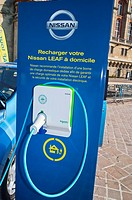 Paris, France, Electric Chargeing Unit, Nissan 'Leaf', Electric Cars, on Display, in Saint Germain-en-Laye
