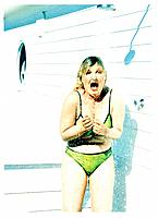 Overweight woman under the shower