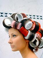Young Woman with Rollers in Her Hair