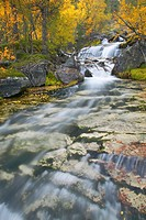 series of waterfalls running through ancient boreal forest in Atndalen, Norway, Sor_Trondelag, Stor_elvdal