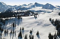 aerial of skiers in flute bowl, whistler mountain, british columbia, Canada.