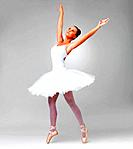 Full length of a young and cute ballerina dancing against white background _ copyspace