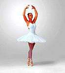 Full length of a pretty young ballerina dancing against white background _ copyspace