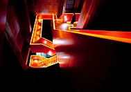 person in a staircase of coal mine Zollverein, Germany, North Rhine_Westphalia, Ruhr Area, Essen